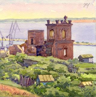 """""""Руины на Самсонихе"""" Титовский А.И. (1983 год)."""