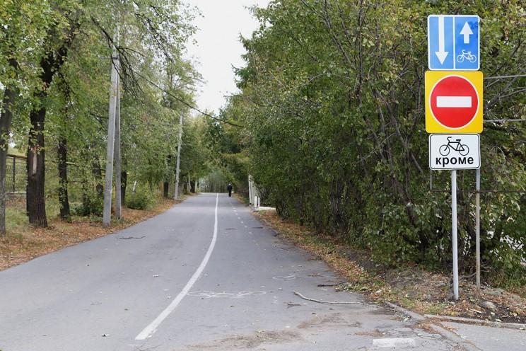 Велодорожка в парке Средний Венец в Ленинском районе Ульяновска