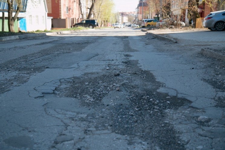 Квази-отремонтированная дорога на ул.Федерации в Ульяновске