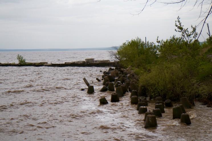 Волга размывает берег с огромной скоростью.