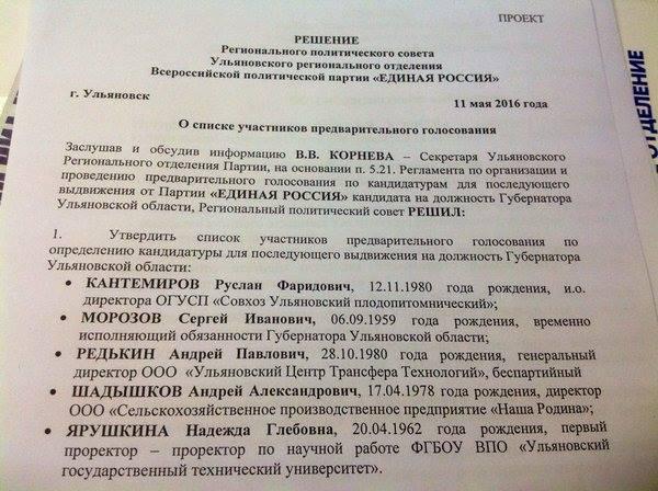 Кандидаты в кандидаты на пост губернатора Ульяновской области