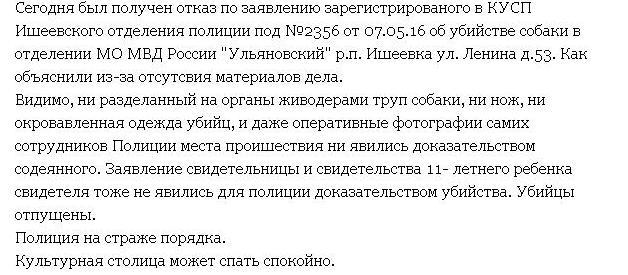 Фрагмент записи волонтера об отказе в возбуждении уголовного дела по поводу жестокого убийства собаки в Ишеевке