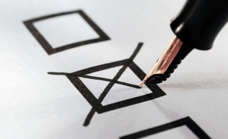Voting slip putting a cross in a box