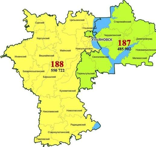 Ульяновская область была разделена на 2 одномандатных избирательных округа: 187-й Ульяновский (выделен зеленым цветом) и 188-й Радищевский (желтый цвет)