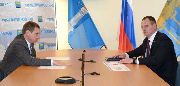 Глава администрации Димитровграда Вячеслав Гнутов и мэр Димитровграда Алексей Кошаев.