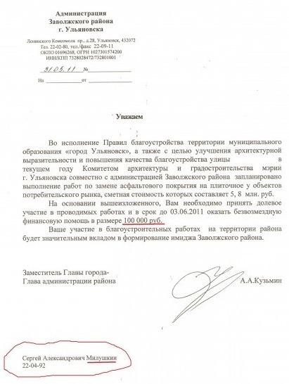 Принцип работы администрации Заволжского района г.Ульяновска с бизнесменами-киоскерами