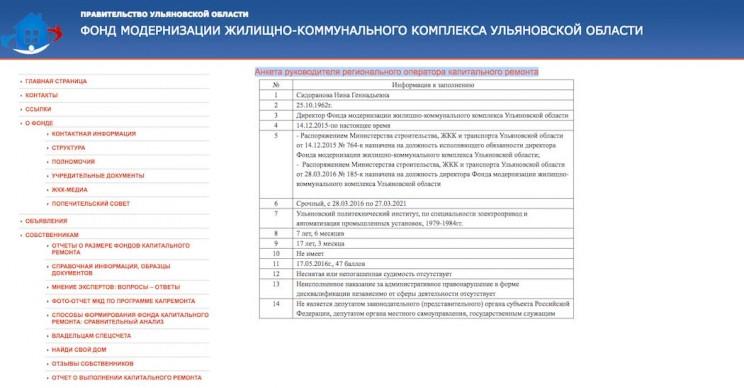 анкета руководителя оператора капремонта на 7 июня 2017 года
