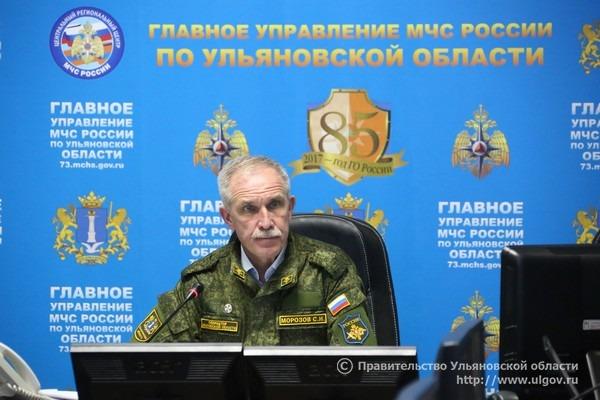 Губернатор Ульяновской области Сергей Морозов во время заседания комиссии по чрезвычайным ситуациям.
