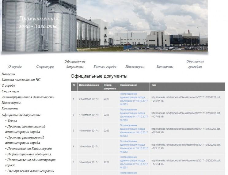 Скриншот с сайта администрации Ульяновска - 2, 25 октября 2017