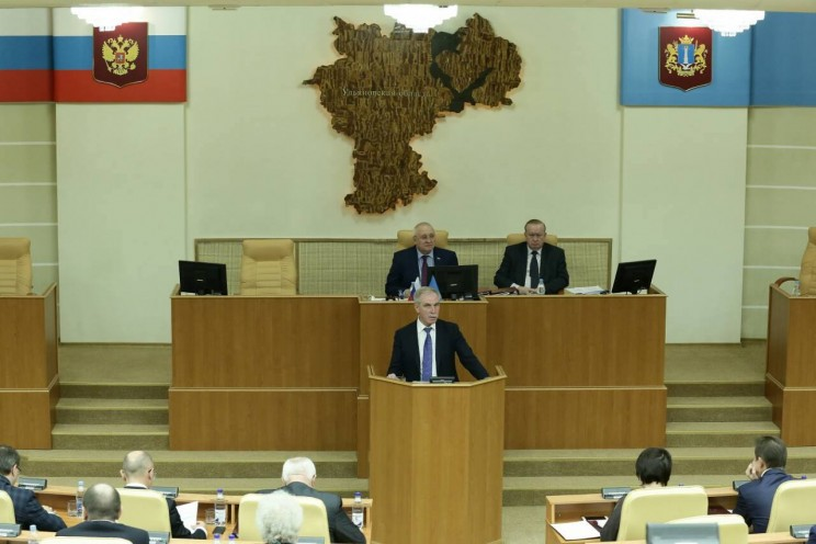Сергей Морозов выступает в Законодательном собрании Ульяновской области перед рассмотрением бюджета во втором чтении, 22 ноября 2017 года
